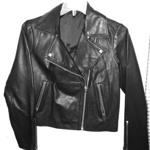 Topshop Real Leather Moto Jacket